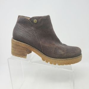 Panama Jack Brown Leather Side Zip Ankle Boots 9.5